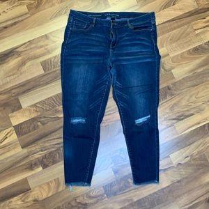 Plus size skinny jeans denim distressed
